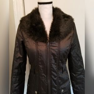 White House Black Market Jackets & Coats - White House Black Market Black Coat Faux Fur Hood